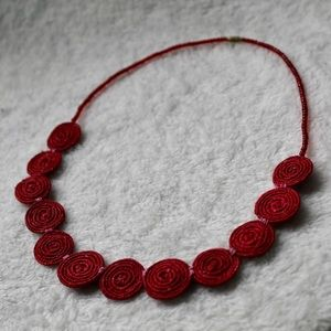 Red Vintage Woven Necklace